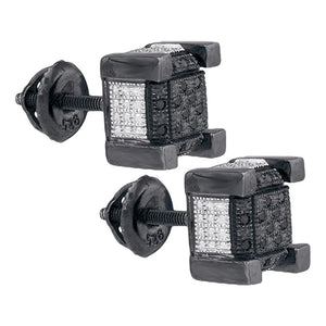Sterling Silver Mens Round Black Color Enhanced Diamond 3D Square Cluster Earrings 1/10 Cttw