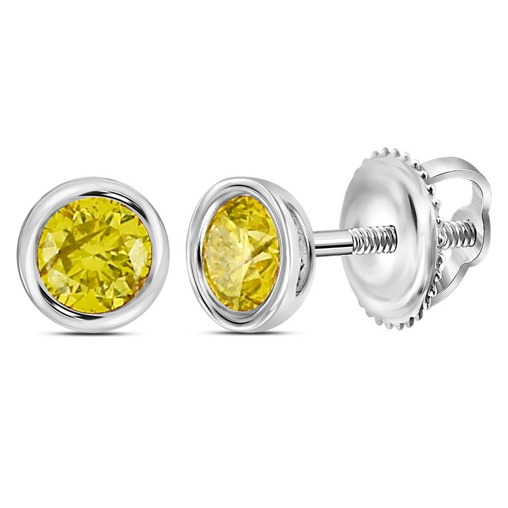 Sterling Silver Mens Round Yellow Color Enhanced Diamond Stud Earrings 1/2 Cttw