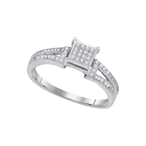 e03a680bf96 10kt White Gold Womens Elevated Diamond Square Cluster Bridal Wedding  Engagement Ring 1 6 Cttw