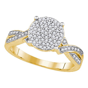 10kt Yellow Gold Womens Round Diamond Circle Cluster Ring 1/4 Cttw