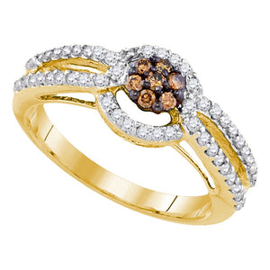 10kt Yellow Gold Womens Round Brown Color Enhanced Diamond Cluster Bridal Wedding Engagement Ring 1/2 Cttw