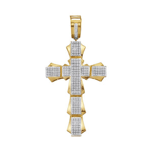 10kt Yellow Gold Mens Round Diamond Segmented Flared Cross Charm Pendant 1-1/10 Cttw