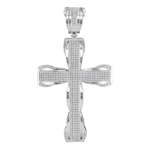 10kt White Gold Mens Round Diamond Flared Roman Cross Charm Pendant 1-1/2 Cttw