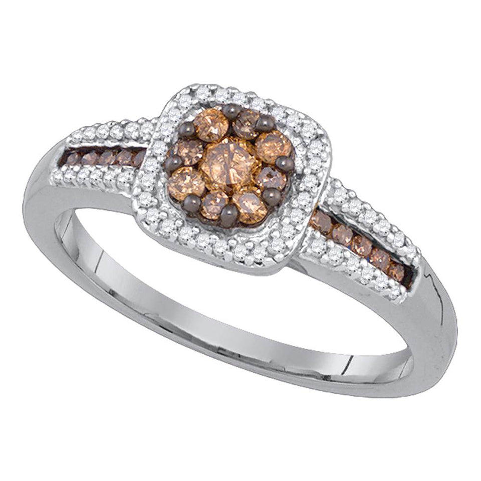 10kt White Gold Womens Round Brown Color Enhanced Diamond Cluster Ring 1/2 Cttw