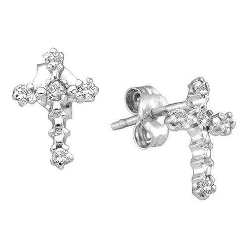10kt White Gold Womens Round Diamond Cross Religious Stud Earrings 1/20 Cttw