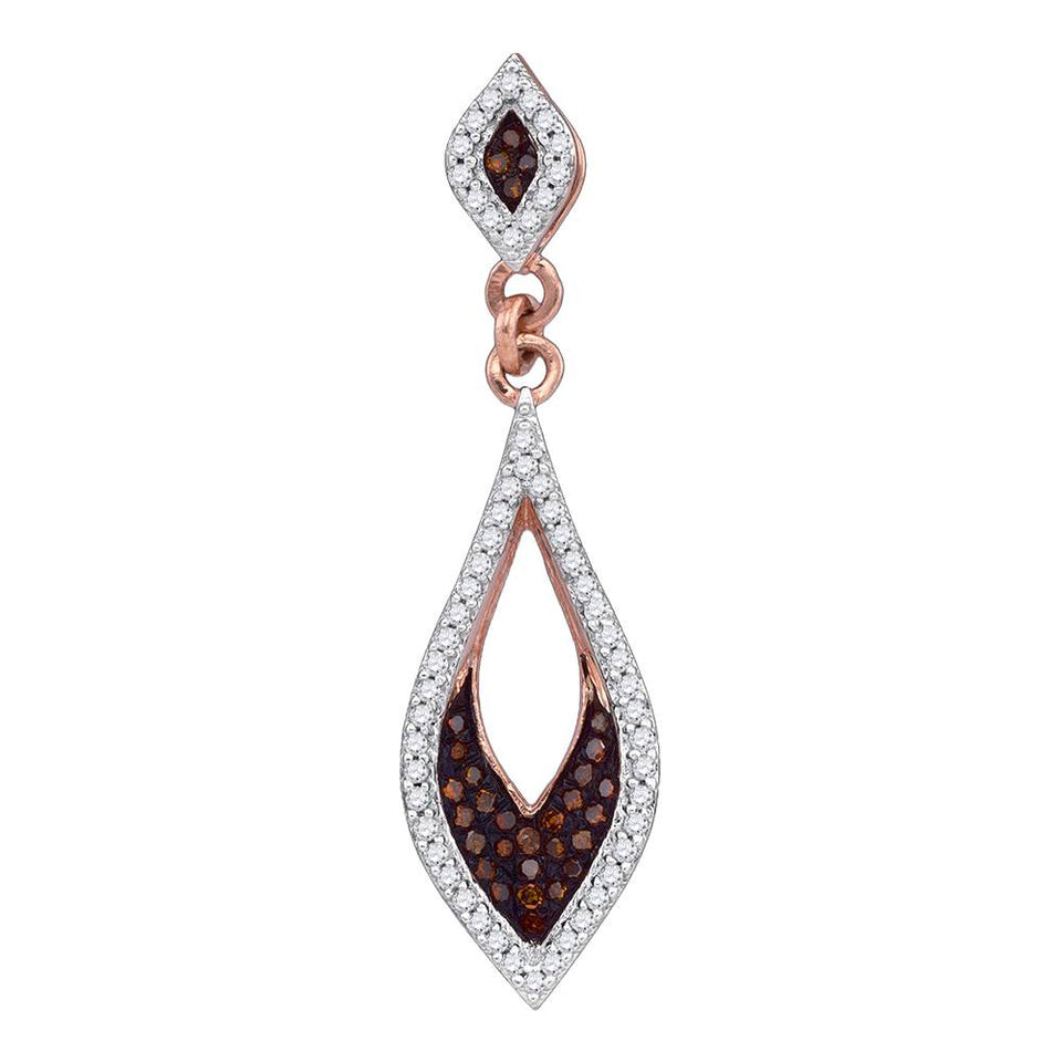10kt Rose Gold Womens Round Red Color Enhanced Diamond Pointed Oval Pendant 1/6 Cttw