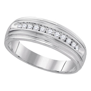 Sterling Silver Mens Round Diamond Wedding Band Ring 1/4 Cttw