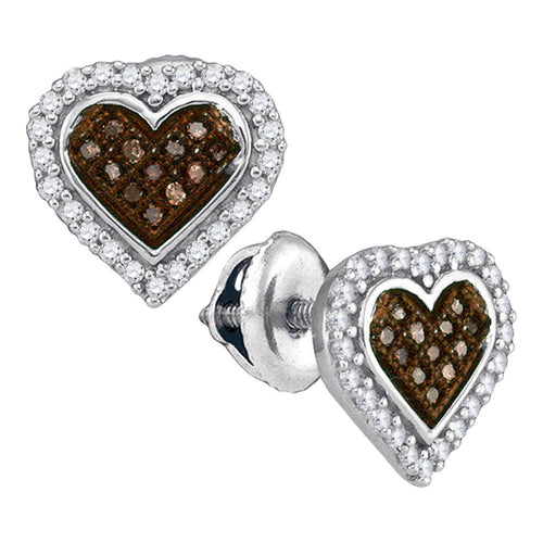 10kt White Gold Womens Round Cognac-brown Color Enhanced Diamond Heart Cluster Earrings 1/4 Cttw
