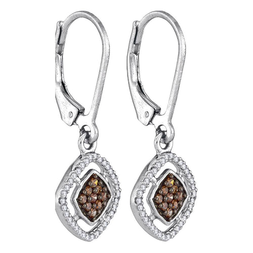 10kt White Gold Womens Round Cognac-brown Color Enhanced Diamond Diagonal Square Dangle Earrings 1/3 Cttw