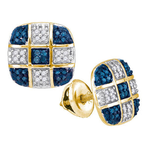 10kt Yellow Gold Womens Round Blue Color Enhanced Diamond Checkered Stud Earrings 1/4 Cttw