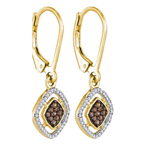 10kt Yellow Gold Womens Round Cognac-brown Color Enhanced Diamond Diagonal Square Dangle Earrings 1/3 Cttw