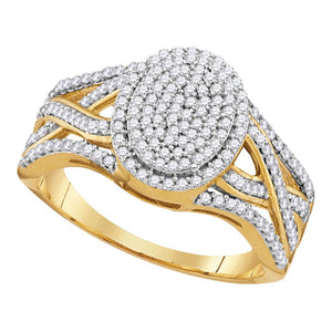 10kt Yellow Gold Womens Round Diamond Oval Cluster Twist Ring 1/2 Cttw