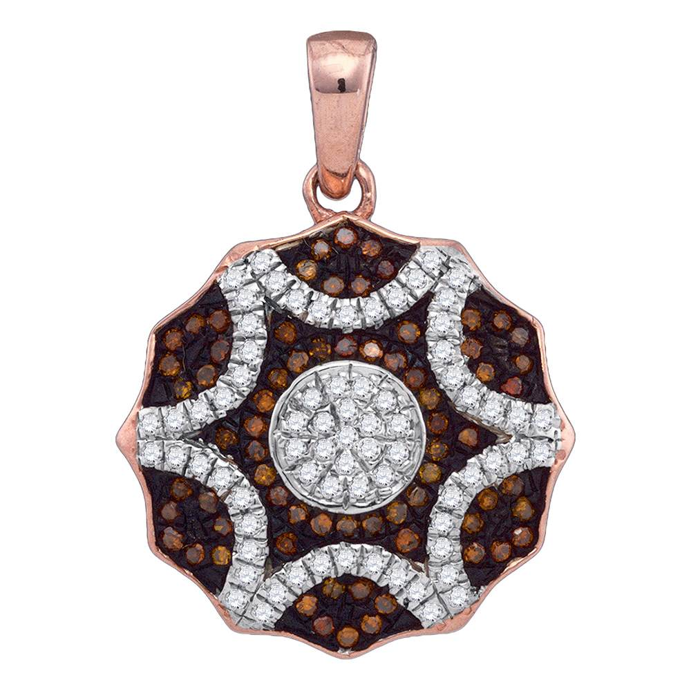 10kt Rose Gold Womens Round Red Color Enhanced Diamond Circle Pendant 1/3 Cttw