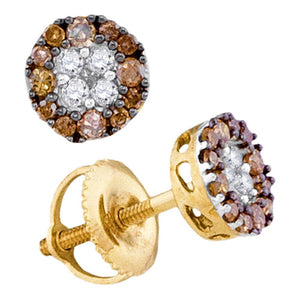 10kt Yellow Gold Womens Round Cognac-brown Color Enhanced Diamond Cluster Stud Earrings 1/3 Cttw