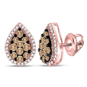 10kt Rose Gold Womens Round Brown Color Enhanced Diamond Teardrop Cluster Earrings 1.00 Cttw