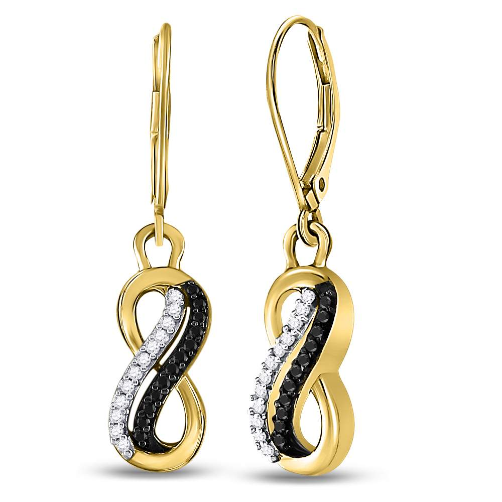 10kt Yellow Gold Womens Round Black Color Enhanced Diamond Infinity Dangle Earrings 1/5 Cttw