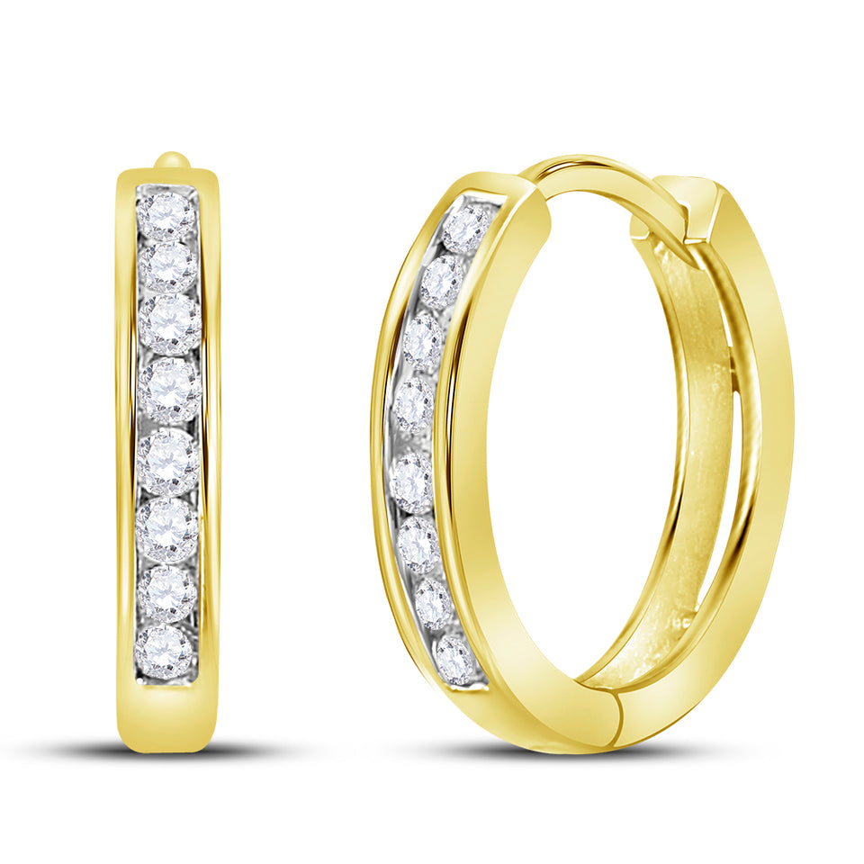 10kt Yellow Gold Womens Round Diamond Hoop Earrings 1/4 Cttw