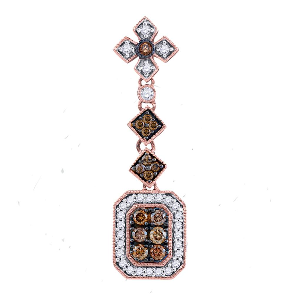 14kt Rose Gold Womens Round Brown Color Enhanced Diamond Fashion Pendant 1/2 Cttw