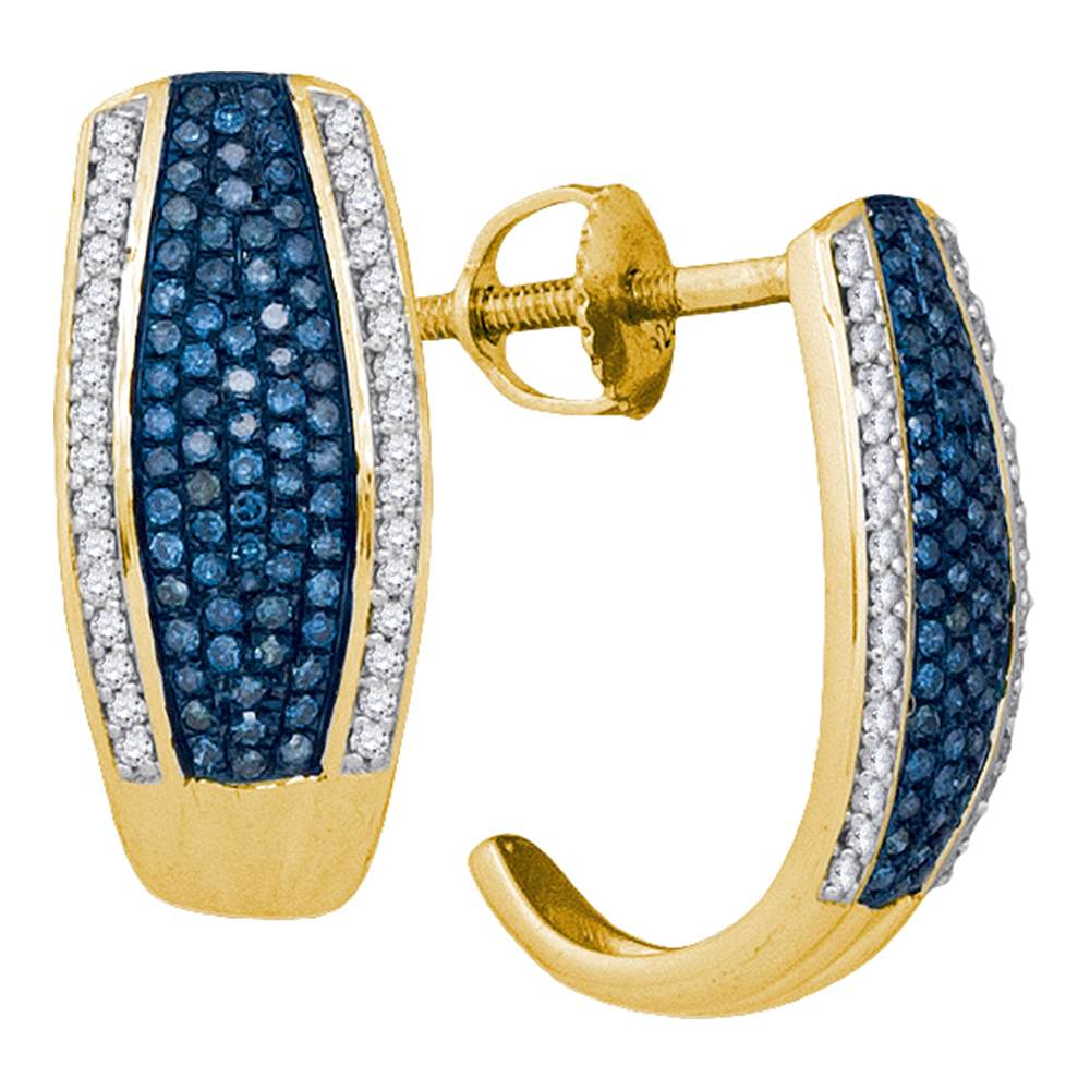 10kt Yellow Gold Womens Round Blue Color Enhanced Diamond Half J Hoop Earrings 1/2 Cttw