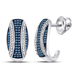 10kt White Gold Womens Round Blue Color Enhanced Diamond Half J Hoop Earrings 3/8 Cttw