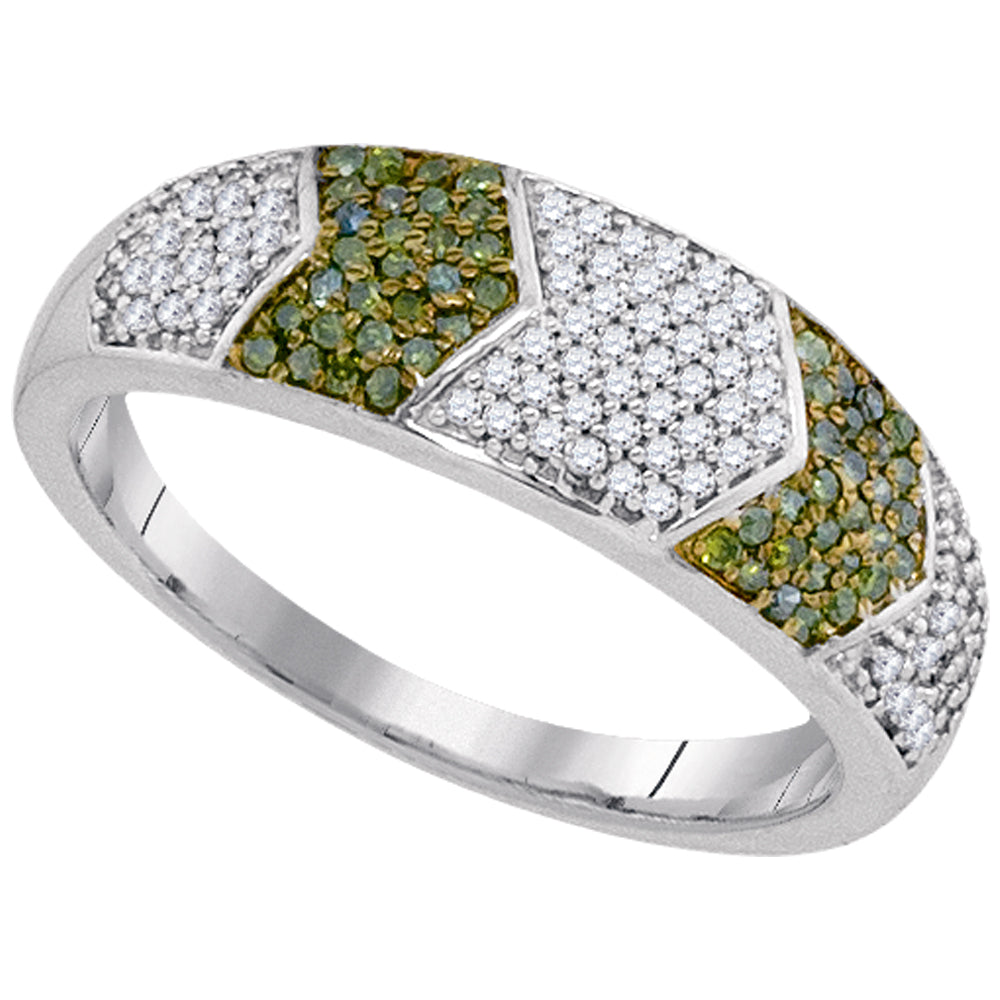 10kt White Gold Womens Round Green Color Enhanced Diamond Band Ring 1/3 Cttw