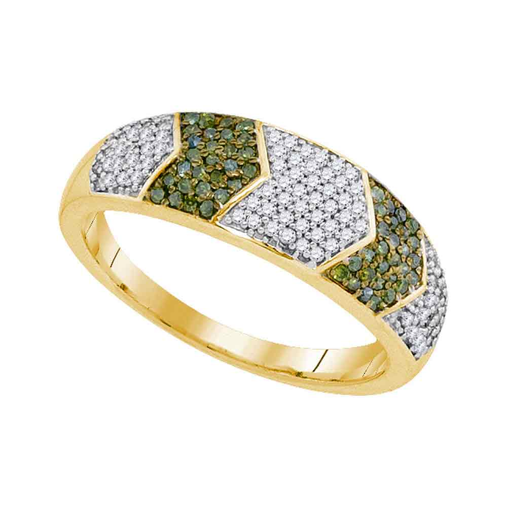 10kt Yellow Gold Womens Round Green Color Enhanced Diamond Band Ring 1/3 Cttw