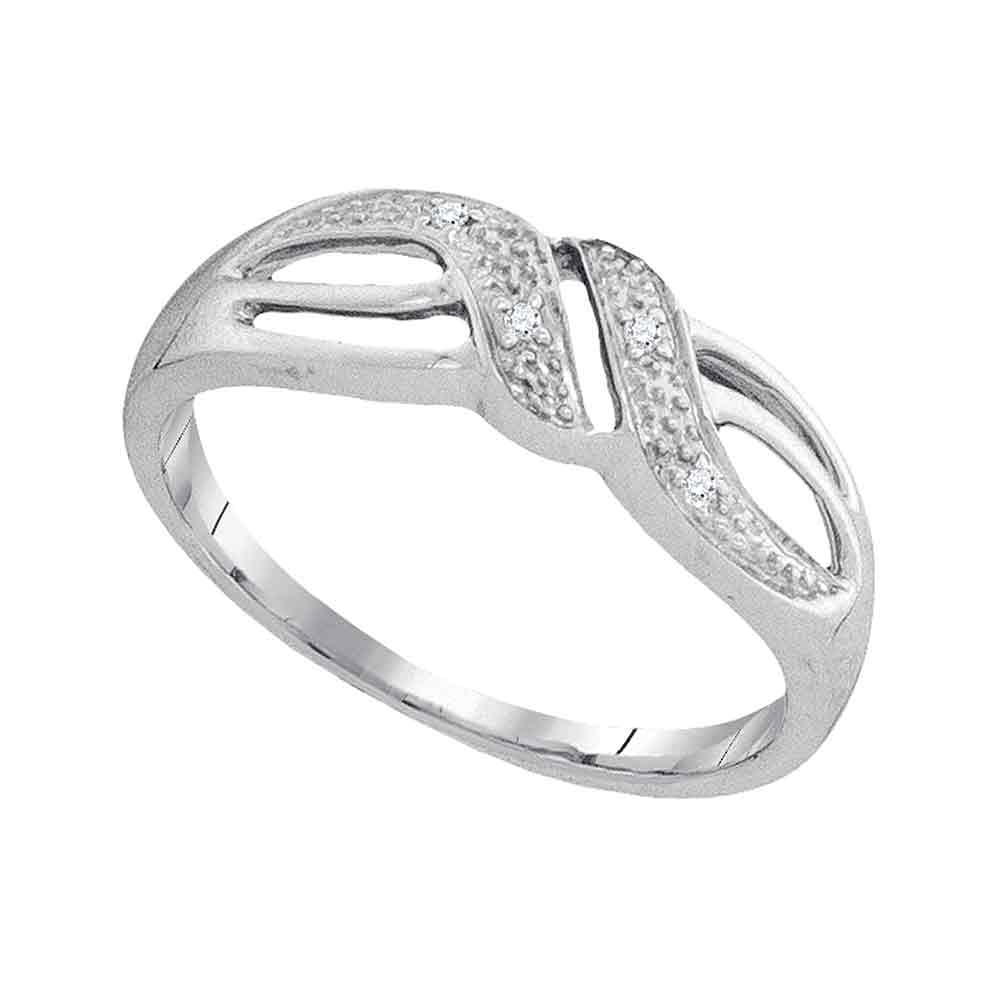 10kt White Gold Womens Round Diamond Band Ring .02 Cttw