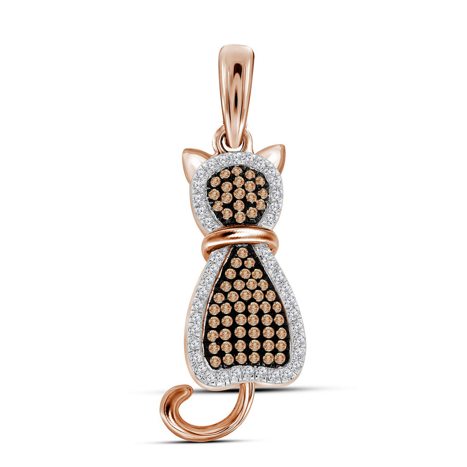 10kt Rose Gold Womens Round Red Color Enhanced Diamond Kitty Cat Feline Animal Pendant 1/4 Cttw