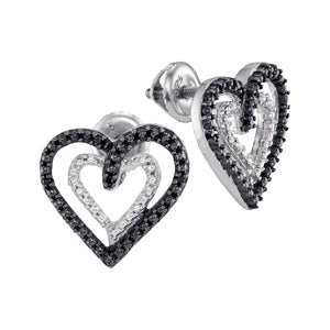 Sterling Silver Womens Round Black Color Enhanced Diamond Double Heart Stud Earrings 1/20 Cttw