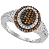 10kt White Gold Womens Round Brown Color Enhanced Diamond Oval Cluster Ring 1/2 Cttw