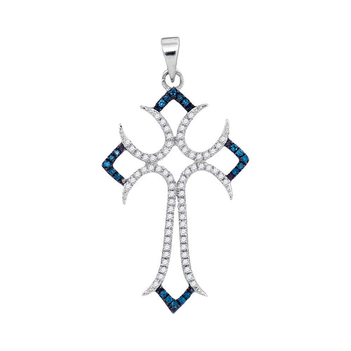 10kt White Gold Womens Round Blue Color Enhanced Diamond Flared Cross Pendant 1/4 Cttw