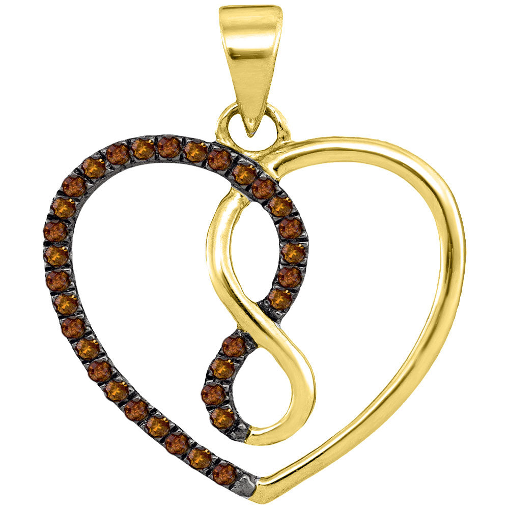 10kt Yellow Gold Womens Round Brown Color Enhanced Diamond Heart Infinity Pendant 1/8 Cttw