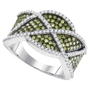 10kt White Gold Womens Round Green Color Enhanced Diamond Band Ring 1.00 Cttw