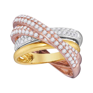 14kt Tri-Tone Gold Womens Round Diamond Fashion Crossover Band Ring 1-1/4 Cttw