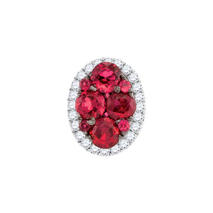 14kt White Gold Womens Round Ruby Diamond Oval Cluster Pendant 3/4 Cttw