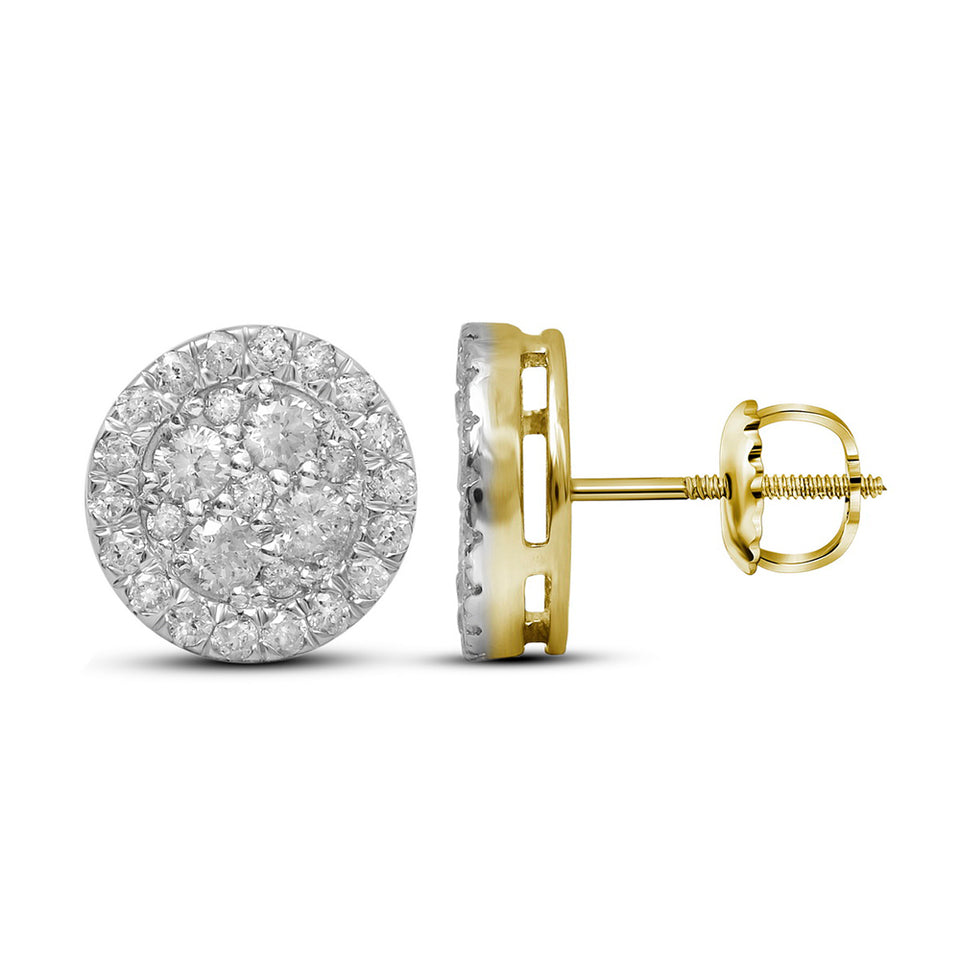 10kt Yellow Gold Womens Round Diamond Cluster Stud Earrings 1-1/2 Cttw