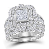 14kt White Gold Womens Princess Diamond Cluster Bridal Wedding Engagement Ring Band Set 2-1/4 Cttw