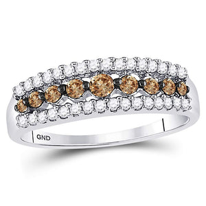 10k White Gold Womens Cognac-brown Color Enhanced Diamond Band Ring 1/2 Cttw Size 8