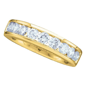 14kt Yellow Gold Womens Round Channel-set Diamond Wedding Band 1/6 Cttw