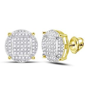 10kt Yellow Gold Mens Round Diamond Circle Cluster Stud Earrings 5/8 Cttw