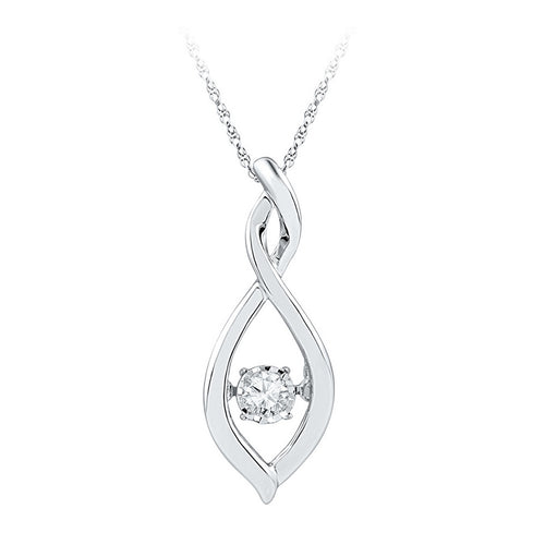 Sterling Silver Womens Round Diamond Infinity Twinkle Moving Pendant .03 Cttw