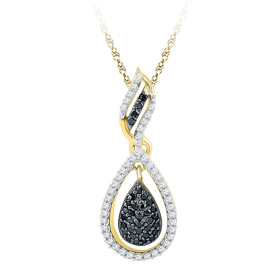 10kt Yellow Gold Womens Round Black Color Enhanced Diamond Teardrop Pendant 1/3 Cttw