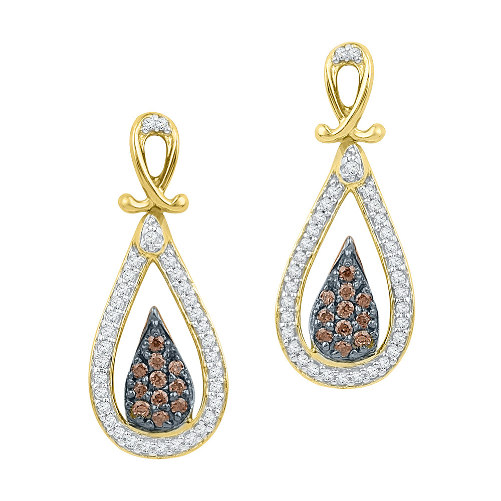 10kt Yellow Gold Womens Round Brown Color Enhanced Diamond Teardrop Dangle Earrings 1/3 Cttw