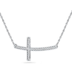 Sterling Silver Womens Round Diamond Horizontal Sideways Cross Necklace 1/10 Cttw