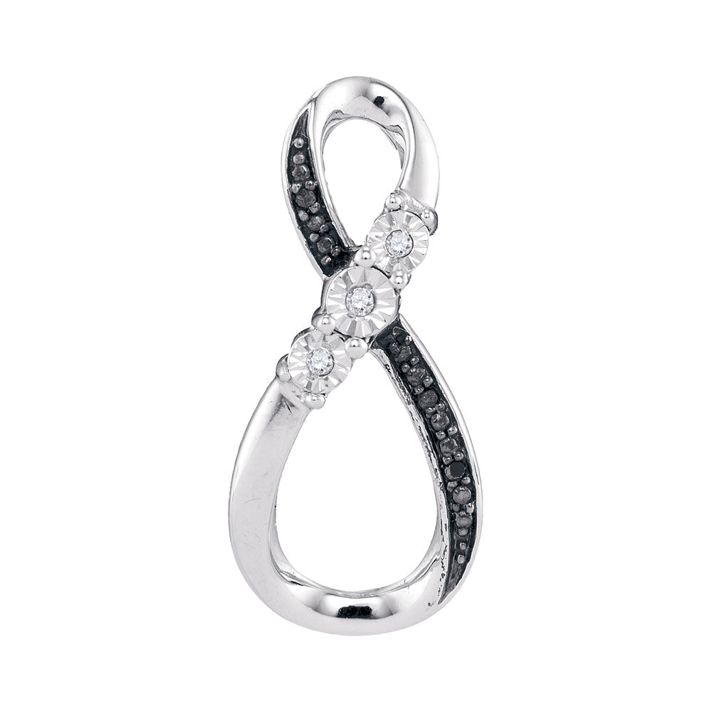 10kt White Gold Womens Round Black Color Enhanced Diamond Vertical Infinity Pendant .03 Cttw