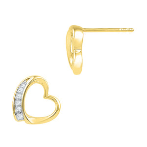 10kt Yellow Gold Womens Round Diamond Heart Stud Earrings 1/10 Cttw