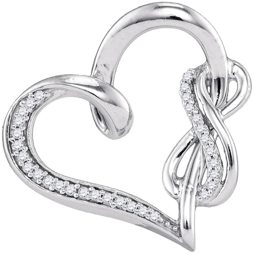 Sterling Silver Womens Round Diamond Linked Infinity Heart Pendant 1/8 Cttw