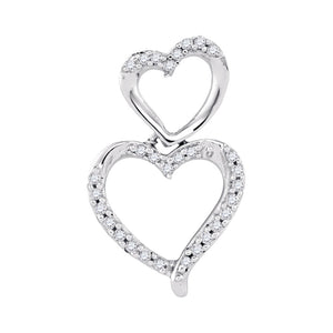 10kt White Gold Womens Round Diamond Double Stacked Heart Pendant 1/6 Cttw