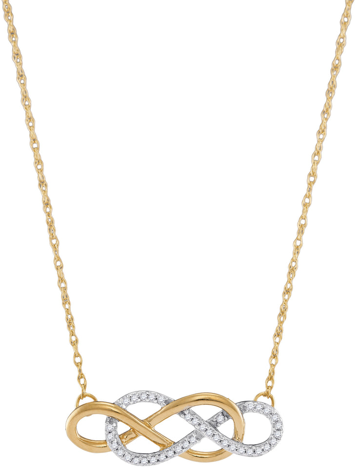 10kt Yellow Gold Womens Round Diamond Double Linked Infinity Necklace 1/6 Cttw