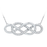 10kt White Gold Womens Round Diamond Double Linked Infinity Necklace 1/6 Cttw
